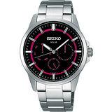SEIKO 風行者太陽能全日曆腕錶-紅/銀 V14J-0AX0R