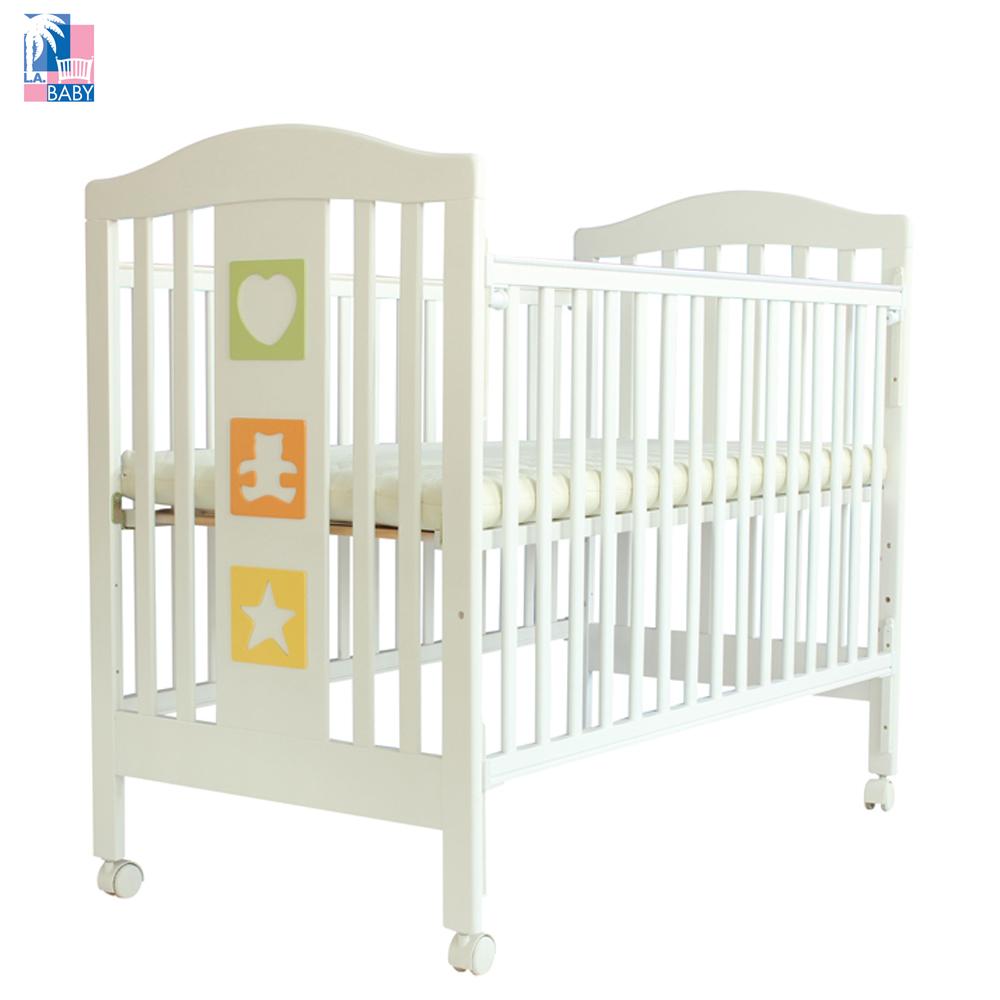 L.A. Baby 美國加州貝比 維吉尼亞嬰兒中床/木床/原木床/嬰兒床(白色)