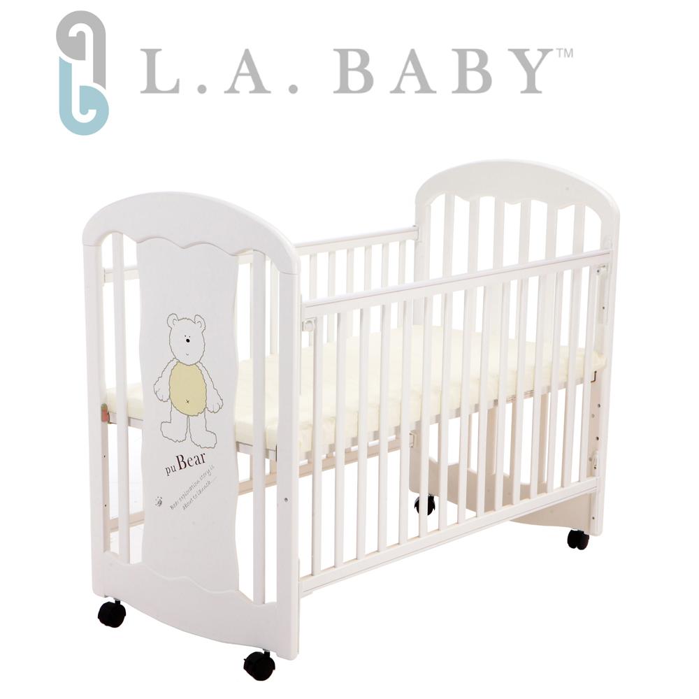 L.A. Baby 美國加州貝比 卡羅萊納嬰兒搖擺中床/木床/原木床/嬰兒床(白色)