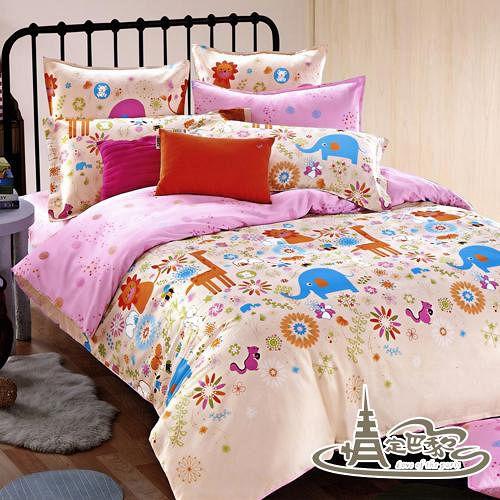 【情定巴黎-頑皮家族】加大精梳棉四件式兩用被床包組