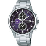 SEIKO SPIRIT 太陽能鬧鈴兩地時間腕錶-深紫 V172-0AA0P