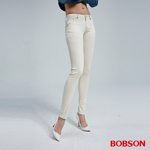 BOBSON 女款天絲棉超彈緊身褲(米白81)